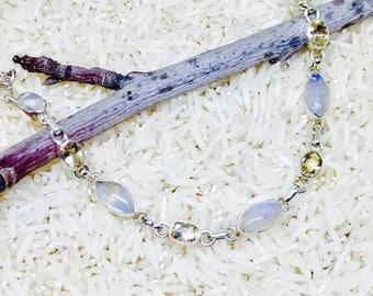 Rainbow Moonstone citrine bracelet set in sterling silver(92.5).Adjustable length, links attached.Natural gemstones.