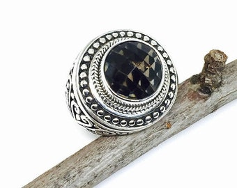10% Smokey topaz ring set in solid sterling silver 925. Size-8. Genuine natural checkerboard smokey topaz stone