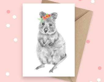 Quokka Greeting Card, Australian Native, Animal Birthday Card, Australian Souvenir Card, Native Animal, Blank Card, Thank You Card