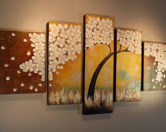 """Large White Sakura Flower Original Acrylic Painting 70"""" by Pallete Knife, Beige Yellow Teal Pentaptych Textured Canvas Wall Hanging Tree Art"""