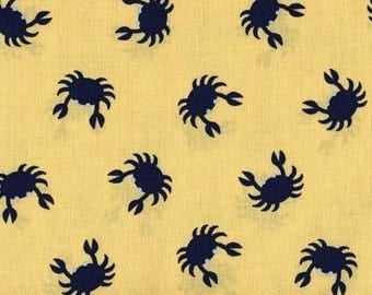 Dear Stella Yellow Crabs fabric by the yard, navy crabs on yellow fabric, boy fabrics, beach fabrics, crab print fabric, yellow navy crab