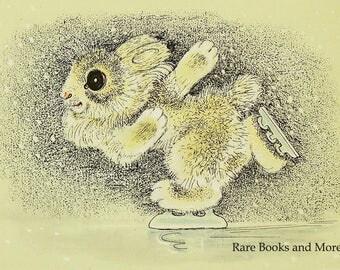 Hare Ice-Skater - Illustrator A. Golubev - Vintage Soviet Postcard, 1966. Rabbit Bunny Skates Winter Olympics Animals Art Print