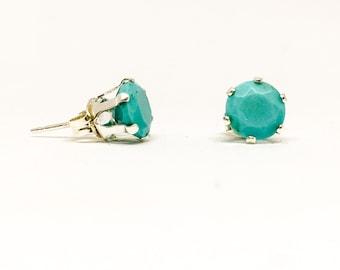 Turquoise gemstone studs, 6mm sterling silver stud earrings, everyday earrings, precious stones