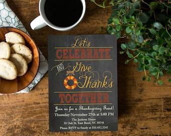 Thanksgiving Party Invite, Thanksgiving Chalkboard Invitation Printable, Fall Wreath Invite, Digital File