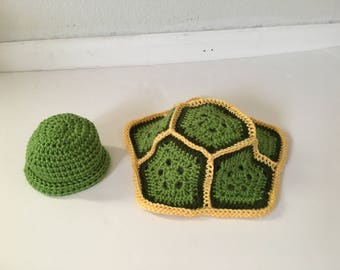 Handmade Baby Turtle Prop Set, Crochet Turtle Hat & Shell, Newborn photography prop, baby costume, turtle outfit, turtle hat and tushies