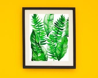 botanical print, fern print,   watercolor art, abstract, art print, new home, watercolor art, watercolor painting,  11x14, gift idea