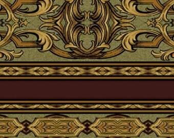 Jinny Beyers - Ashford Border Quilt Fabric For RJR Fabrics Green/Gold/Burgundy 2.94 Yards