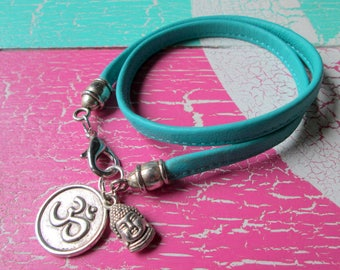 Leather strap * wristband * leather * leather with Buddha head * charm OM * statement * Yoga