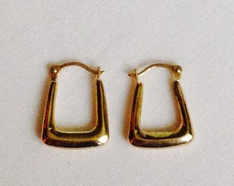 Storewide 30% Off SALE Vintage 10k Yellow Gold Modern Style Hollow Designer Pierced Earrings Featuring Elegant Matte Finish