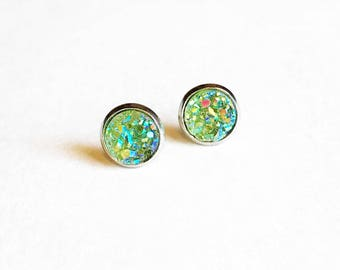 HYPOALLERGENIC EARRINGS Faux Druzy Earrings 8mm SMALL (Surgical Stainless Steel) -Olive Green