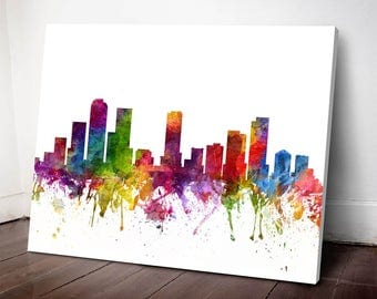 Denver Skyline Canvas Print, Denver Cityscape, Denver Art Print, Home Decor, Gift Idea, USCODE06C