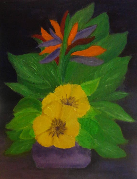 Oil Painting...Bird of Paradise...Topiary Flower Arrangement on Canvas Panel by Rosie Barnett Foshee