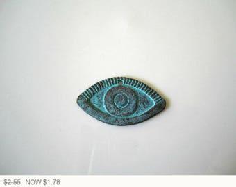 ON SALE Mykonos Patina Eye Button Green Patina Casting Beads Green Patina Mykonos Evil Eye Mykonos Copper Eye 30mm (1 pc) 33V11