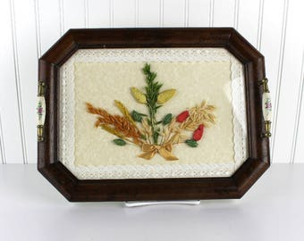 Vintage Dry Flower Serving Tray Wheat Pressed Flower Tray