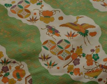 Vintage Japanese Silk Kimono Fabric Cranes and Treasure Items