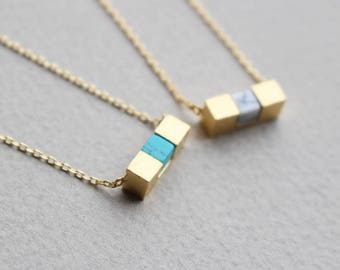 Cube Bar Stone necklace, Turquoise, Hawlite, White Stone necklace, Blue stone necklace, Bridesmaid gift, Wedding necklace