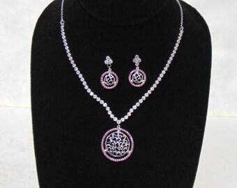 Womens Sterling Silver Earrings, Necklace & Pendant Set, 24.9g E3418