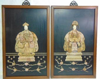 Decorative Pair of Vintage Chinese Soapstone Panels of Emperor & Empress