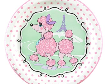 My Parisian Pink Poodle Party Dinner plates/ Paris theme/ Paris/ Poodle /Poodle in Paris / Paris Birthday