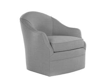 Minimalist Swivel - Small Scale Swivel Chair - Medium Grey - Upholstered in Linen - Made to Order - Accent Chair