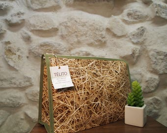 Toiletry bag in oilcloth XL straw