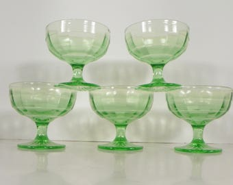 Anchor Hocking Glass Green BLOCK OPTIC Champagne Tall Sherbet (s) Lot of 5