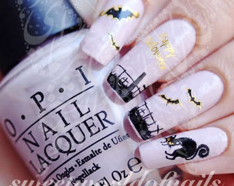 Halloween Nail Art Gold Bats and Cats Nail Water Decals