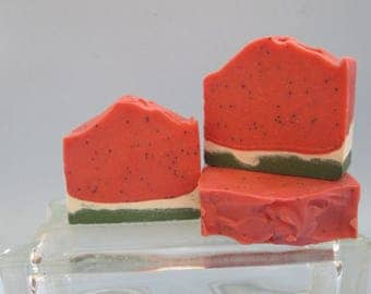 Watermelon, Handmade, Bar Soap, Handcrafted, Artisan Soap, Great Gift, Cold Processed Soap, Poppy Seeds, Luxury Soap, Unisex Scent