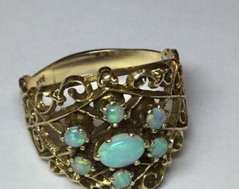 Vintage 1950's 14k Yellow Gold Firey Opal Large Statement Ring