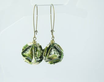 "Earrings ""rose Sonobe"" origami paper"