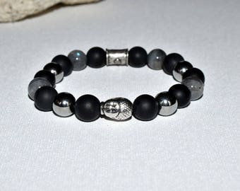onyx silver Buddha labradorite HQ hematite bracelet