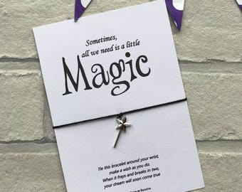 Magic wand wish bracelet, Sometimes all we need is a little magic string charm bracelet with fairy wand charm. Movie inspired quote bracelet