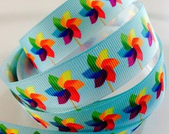 2 meters of fancy Ribbon grosgrain Ribbon 22mm, Rainbow