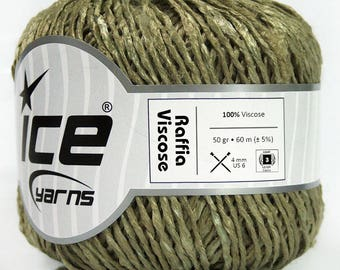 Raffia Viscose Yarn, 300 gr Shiny Knitting Yarn, Summer Crochet Yarn, Khaki Textured Yarn, DK, Ligh Worstedt Weight