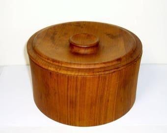 DANSK Danish Modern Teak Wood Ice Bucket Vintage