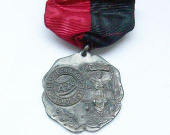 Antique Sterling Silver Wesleyan Interscholastic Mile Run Sports Award Medal with Ribbon- 1907 - 20+ Grams - Free Shipping USA