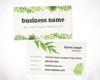 Premade Business Card Design • Watercolour Leaves