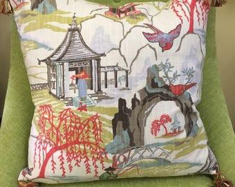Asian Garden - Multicolor Tassels - Throw Pillow