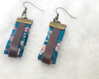 Earrings Liberty & leather turquoise and plum