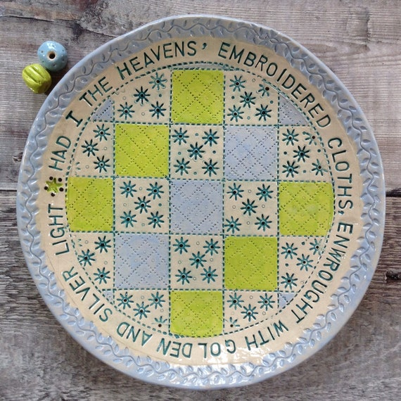 Handmade Ceramic Patchwork Patterned Bowl, Poetry around rim, quilty
