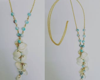 Gold necklace - shell & blue marbled beads