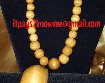 3 pcs wooden bead necklace, bracelet and earring set