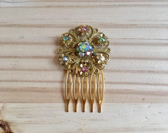 Vintage Multi-coloured Floral Wedding Bridal Comb: AB Multi-coloured Crystals Vintage Costume Wedding Accessory