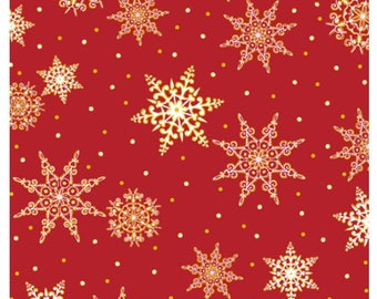 Jolly Old St. Nick Snowflakes in Red  Snowflake Christmas Fabric By Quilting Treasures Fabric Sold By the Half Yard In One Continuous Cut
