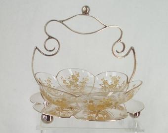 Enamelled c1900 Art Nouveau Petal Shaped Floral Cut Glass Bowl EPNS Stand Briggs and Co Sheffield . Bon Bon Dish . Aesthetic Movement .