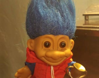 Grandpa Troll Doll with Blue Hair Dressed in Track Suit