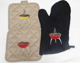 Embroidery BBQ Grill Pot Holder Set