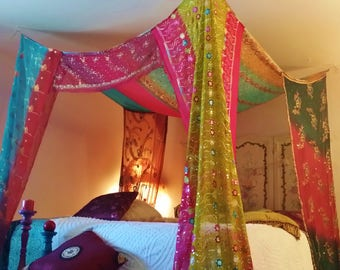 Bed Canopy Boho Gypsy Bedroom Made To Order India Fabric sequin silk embroidered HippieWild Bohemian curtain & Etsy :: Your place to buy and sell all things handmade