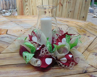 Wine grape deco mesh centerpiece with candle and hurricane shade