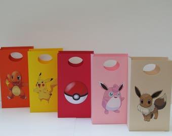 10 Pokemon Party Favor Bag - Candy /Treat Bag – Pokemon Goody - Pokemon Gift Bag – Pokemon Boy/Girls Birthday - Pokemon Classroom Favor Bag